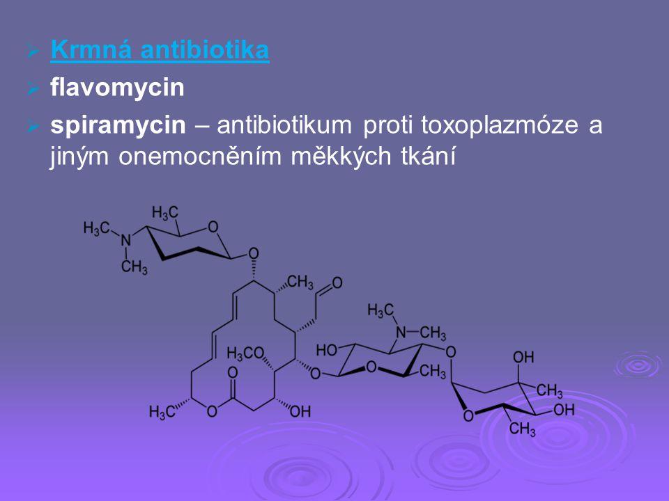   Krmná antibiotika   flavomycin   spiramycin – antibiotikum proti toxoplazmóze a jiným onemocněním měkkých tkání