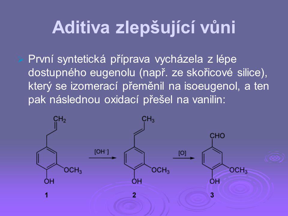 Aditiva zlepšující vůni   První syntetická příprava vycházela z lépe dostupného eugenolu (např. ze skořicové silice), který se izomerací přeměnil na
