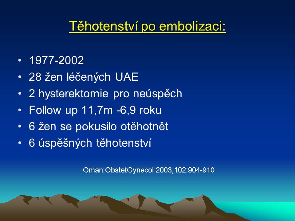 Těhotenství po embolizaci: 1977-2002 28 žen léčených UAE 2 hysterektomie pro neúspěch Follow up 11,7m -6,9 roku 6 žen se pokusilo otěhotnět 6 úspěšných těhotenství Oman:ObstetGynecol 2003,102:904-910