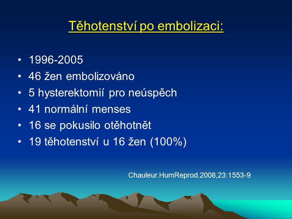 Těhotenství po embolizaci: 1996-2005 46 žen embolizováno 5 hysterektomií pro neúspěch 41 normální menses 16 se pokusilo otěhotnět 19 těhotenství u 16 žen (100%) Chauleur.HumReprod.2008,23:1553-9