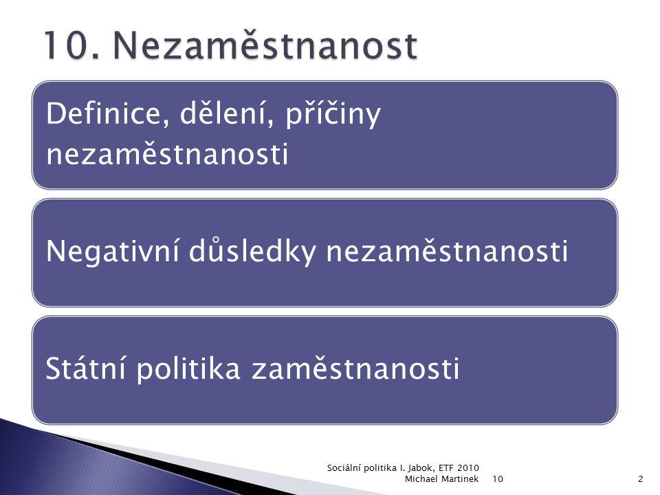 10 Sociální politika I. Jabok, ETF 2010 Michael Martinek2 Definice, dělení, příčiny nezaměstnanosti Negativní důsledky nezaměstnanostiStátní politika