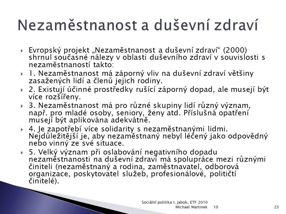 """ Evropský projekt """"Nezaměstnanost a duševní zdraví"""" (2000) shrnul současné nálezy v oblasti duševního zdraví v souvislosti s nezaměstnaností takto: """