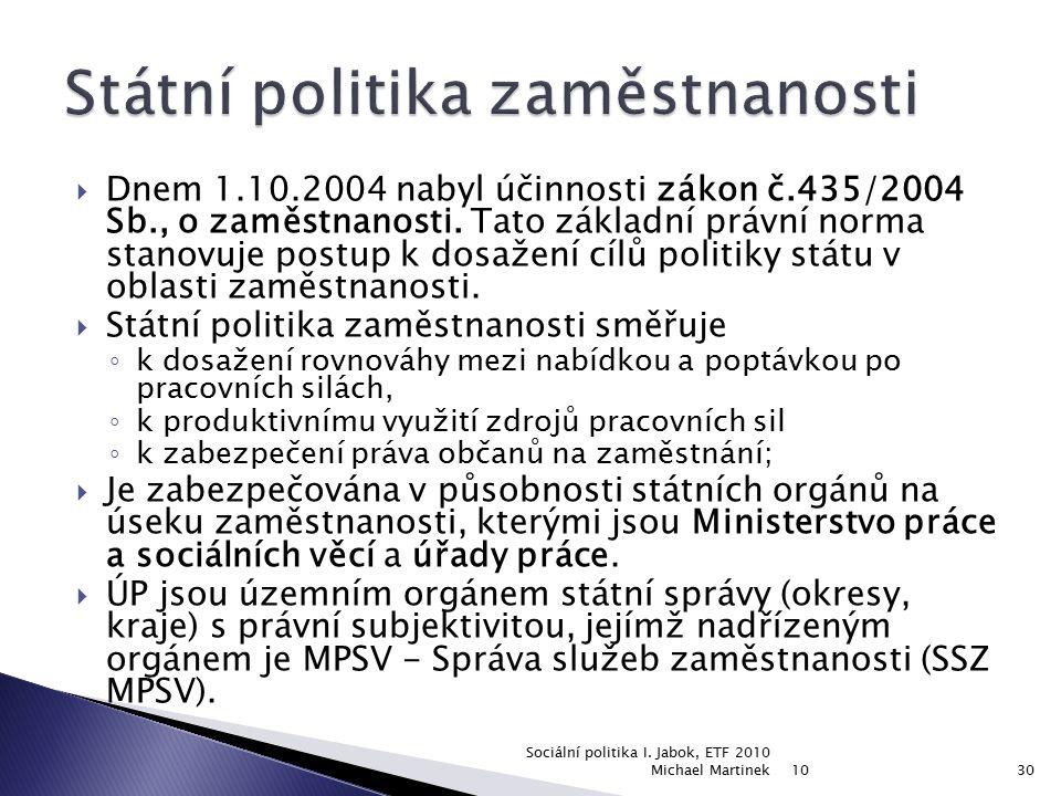  Dnem 1.10.2004 nabyl účinnosti zákon č.435/2004 Sb., o zaměstnanosti. Tato základní právní norma stanovuje postup k dosažení cílů politiky státu v o
