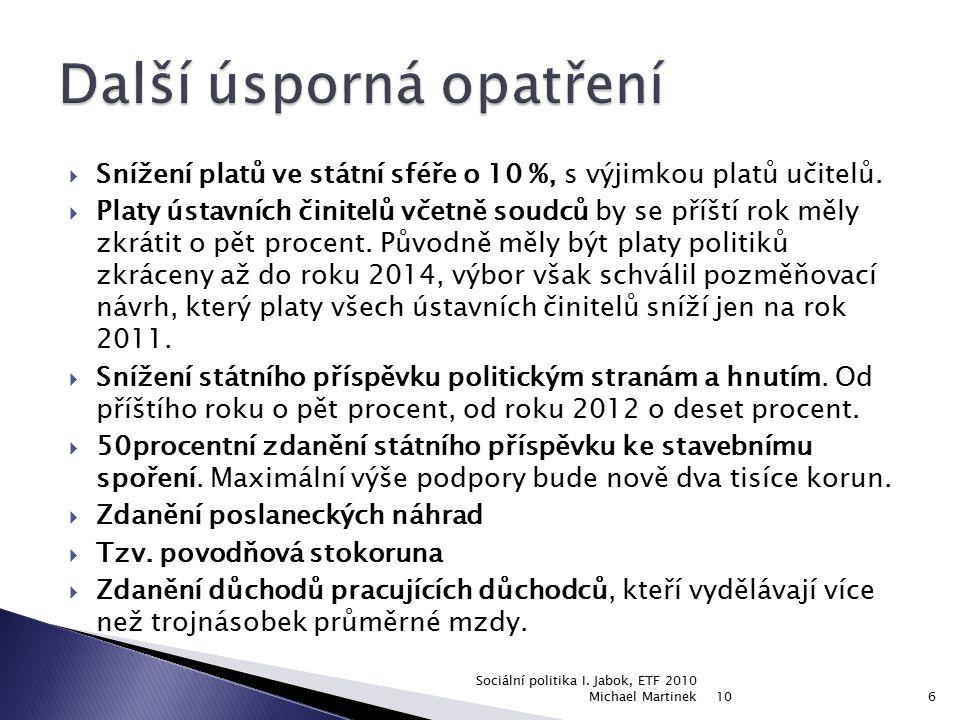  Mladí do 30 let  Starší osoby (před důchodem)  Ženy  Osoby s handicapem  Lidé bez kvalifikace  Romské etnikum 10 Sociální politika I.
