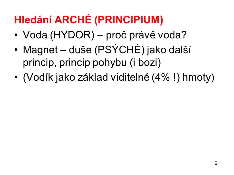 21 Hledání ARCHÉ (PRINCIPIUM) Voda (HYDOR) – proč právě voda.