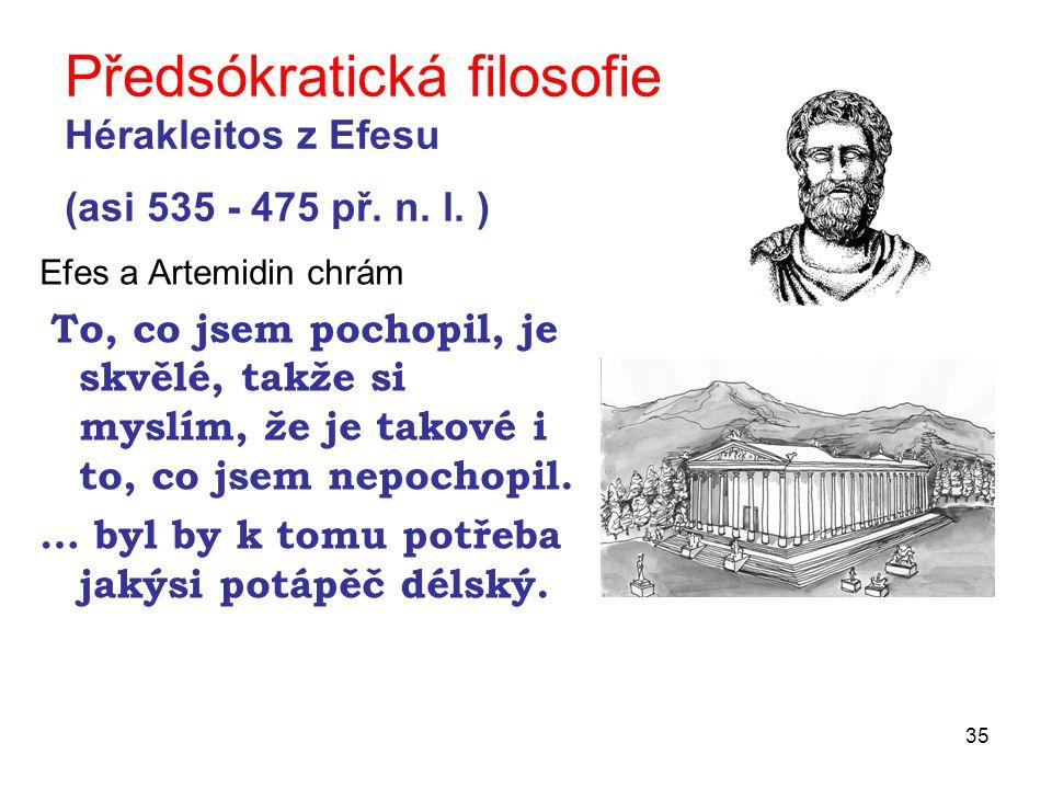 35 Předsókratická filosofie Hérakleitos z Efesu (asi 535 - 475 př.