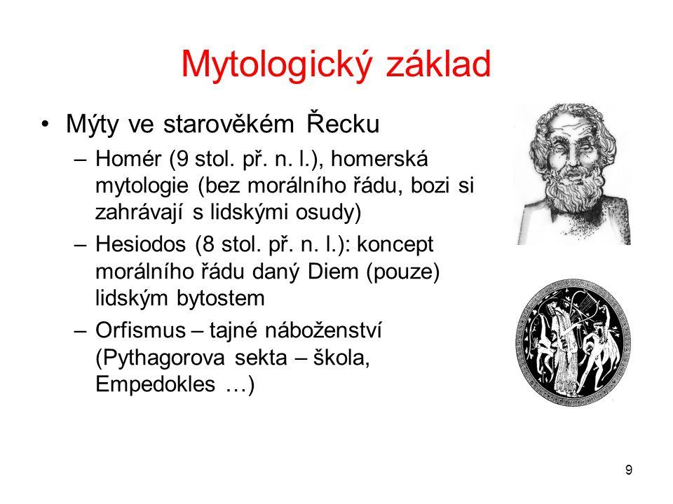 9 Mytologický základ Mýty ve starověkém Řecku –Homér (9 stol.