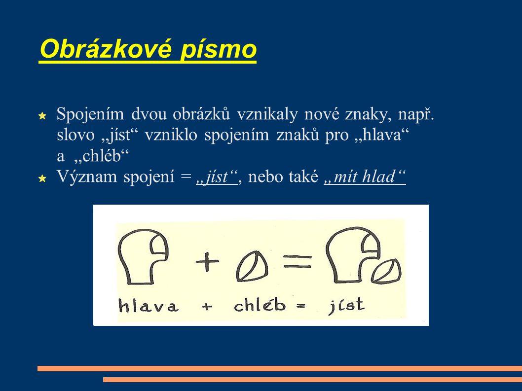 Obrázkové písmo Spojením dvou obrázků vznikaly nové znaky, např.