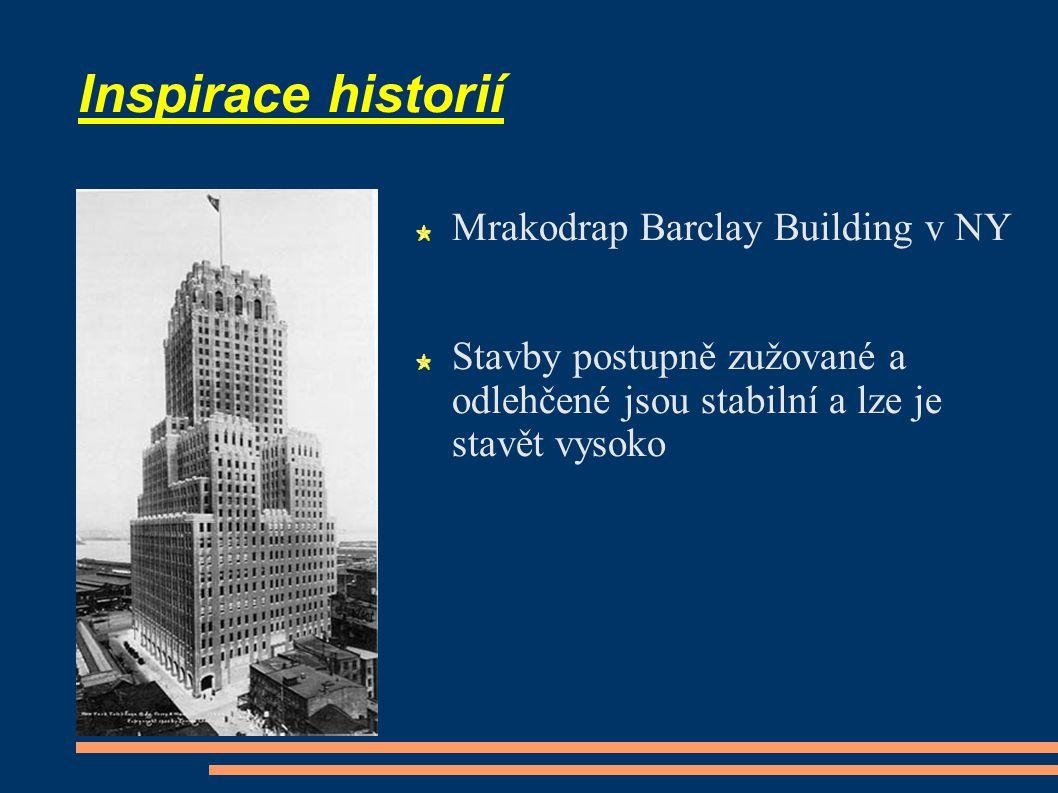 Inspirace historií Mrakodrap Barclay Building v NY Stavby postupně zužované a odlehčené jsou stabilní a lze je stavět vysoko