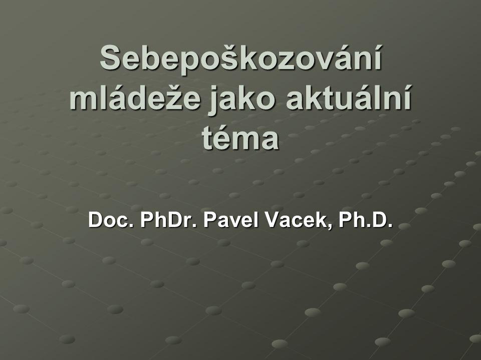 Sebepoškozování mládeže jako aktuální téma Doc. PhDr. Pavel Vacek, Ph.D.