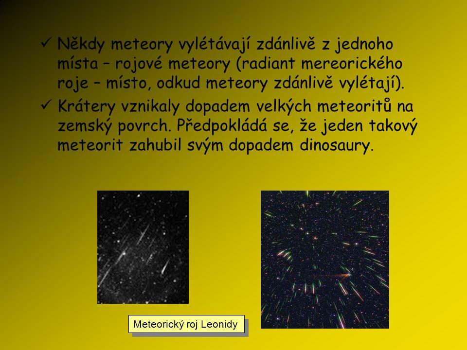 Meteory Je to jev, který nastává při průletu meziplanetární hmoty (drobný prachový a plynný materiál) zemskou atmosférou. Kdysi se, stejně jako u kome