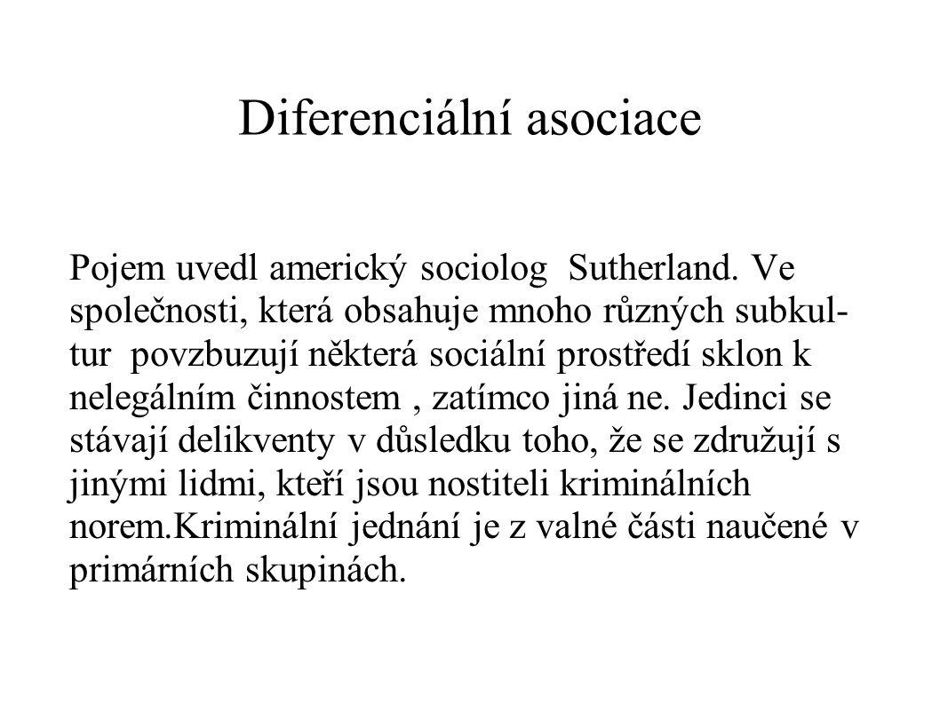 Diferenciální asociace Pojem uvedl americký sociolog Sutherland. Ve společnosti, která obsahuje mnoho různých subkul- tur povzbuzují některá sociální