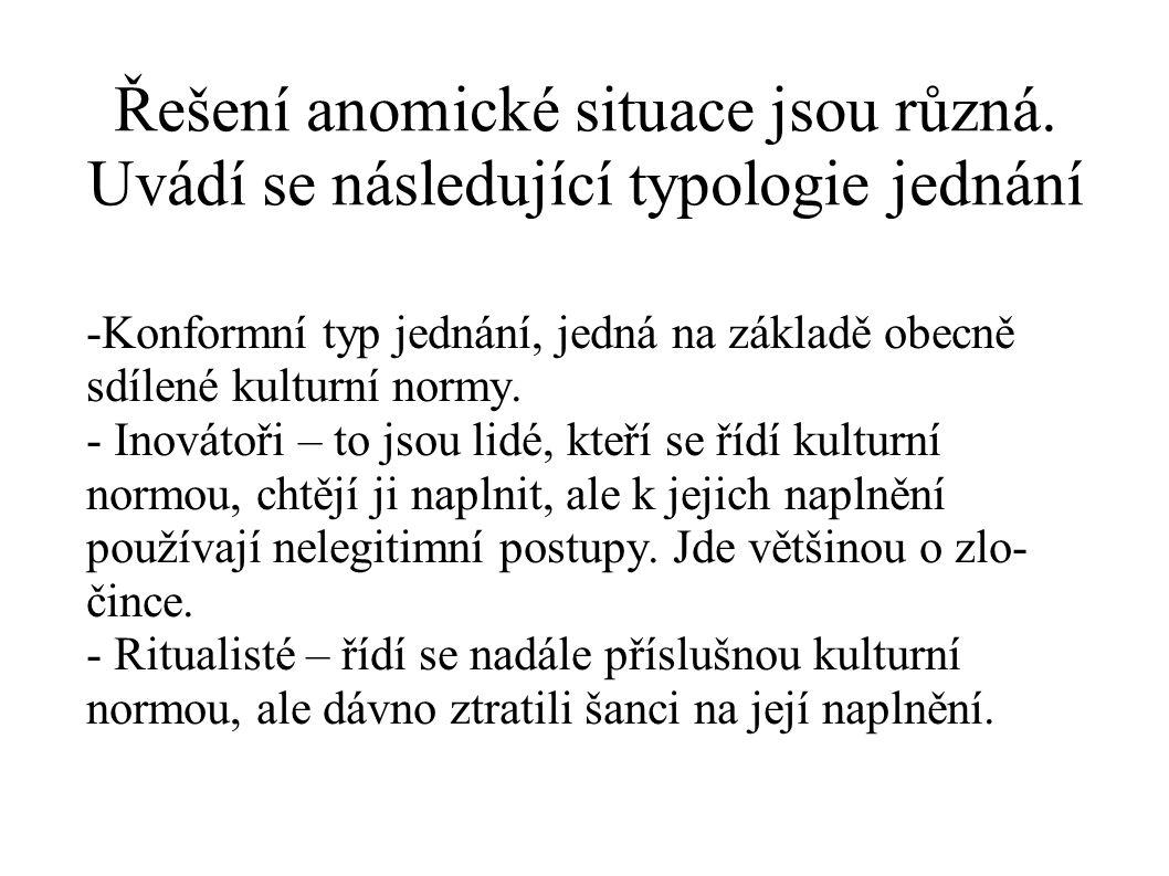Řešení anomické situace jsou různá. Uvádí se následující typologie jednání -Konformní typ jednání, jedná na základě obecně sdílené kulturní normy. - I
