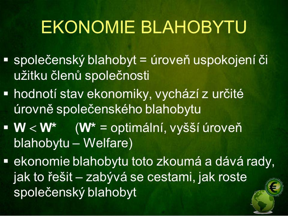 EKONOMIE BLAHOBYTU  společenský blahobyt = úroveň uspokojení či užitku členů společnosti  hodnotí stav ekonomiky, vychází z určité úrovně společensk