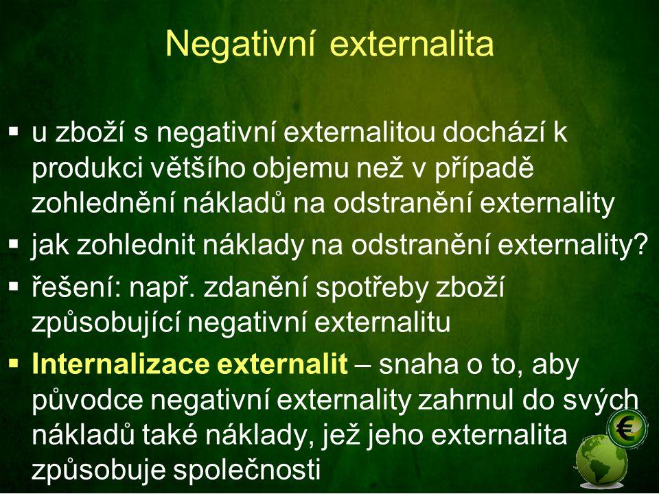 Negativní externalita  u zboží s negativní externalitou dochází k produkci většího objemu než v případě zohlednění nákladů na odstranění externality