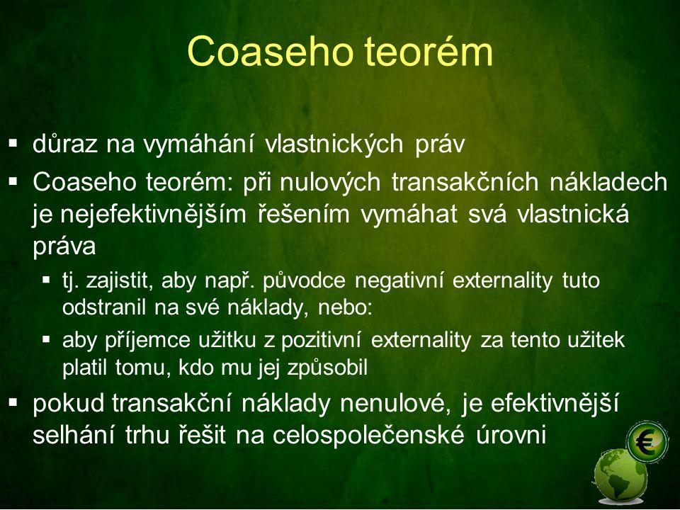 Coaseho teorém  důraz na vymáhání vlastnických práv  Coaseho teorém: při nulových transakčních nákladech je nejefektivnějším řešením vymáhat svá vla