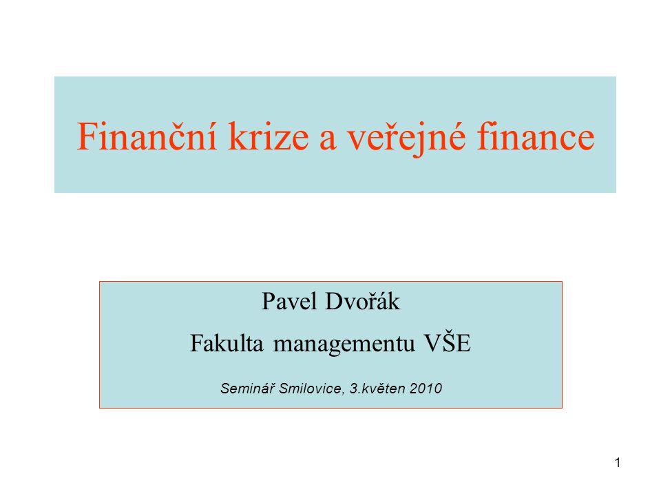 1 Finanční krize a veřejné finance Pavel Dvořák Fakulta managementu VŠE Seminář Smilovice, 3.květen 2010