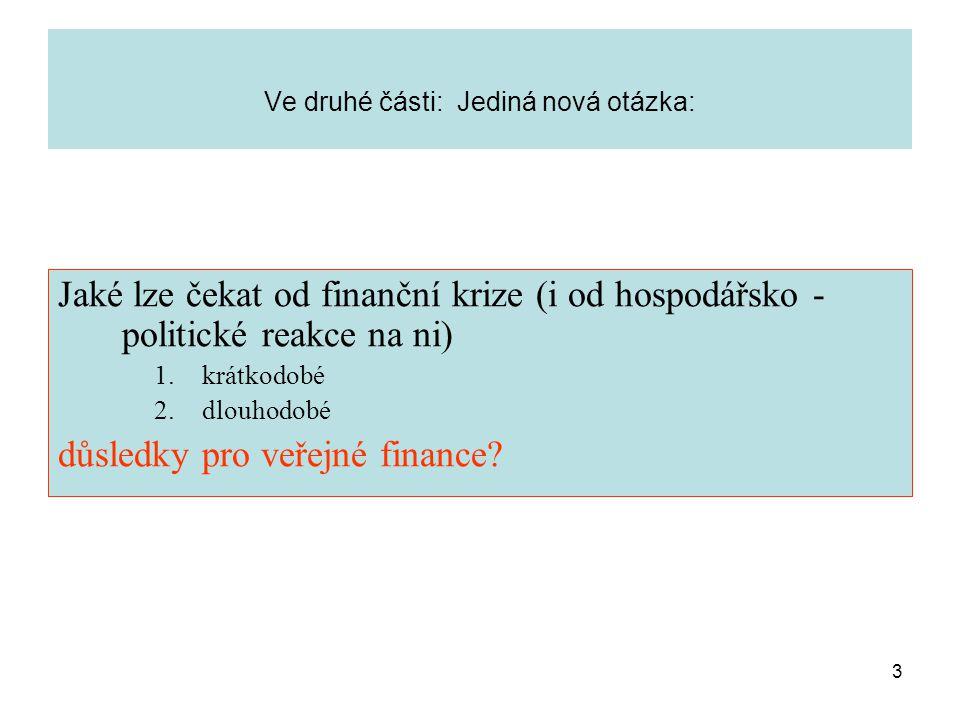 3 Ve druhé části: Jediná nová otázka: Jaké lze čekat od finanční krize (i od hospodářsko - politické reakce na ni) 1.krátkodobé 2.dlouhodobé důsledky pro veřejné finance