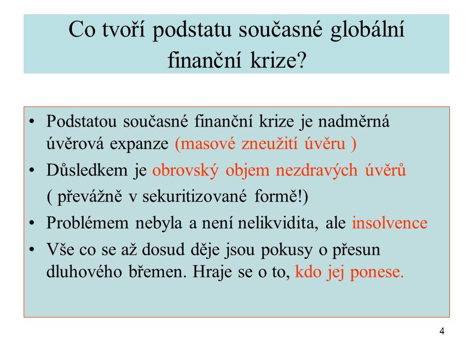 4 Co tvoří podstatu současné globální finanční krize.