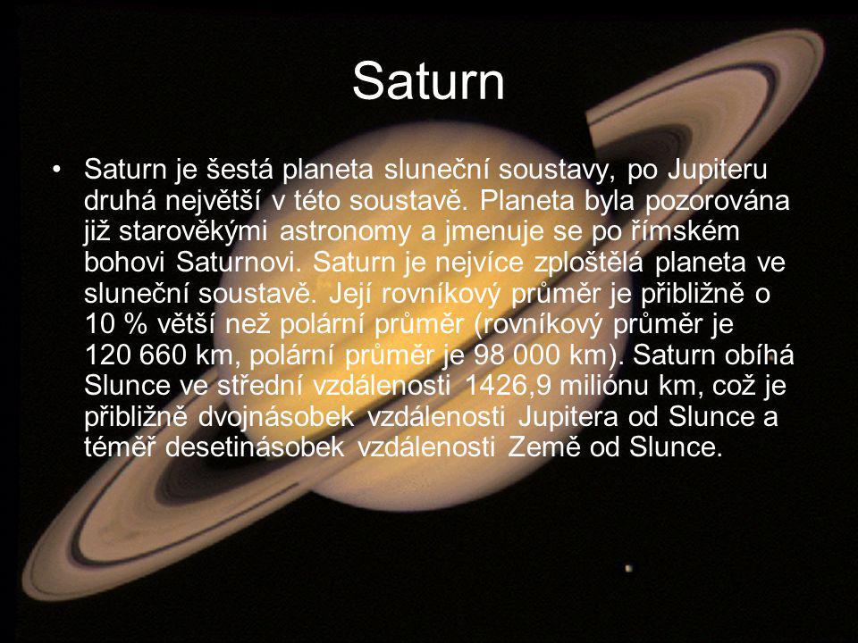 Saturn Saturn je šestá planeta sluneční soustavy, po Jupiteru druhá největší v této soustavě. Planeta byla pozorována již starověkými astronomy a jmen