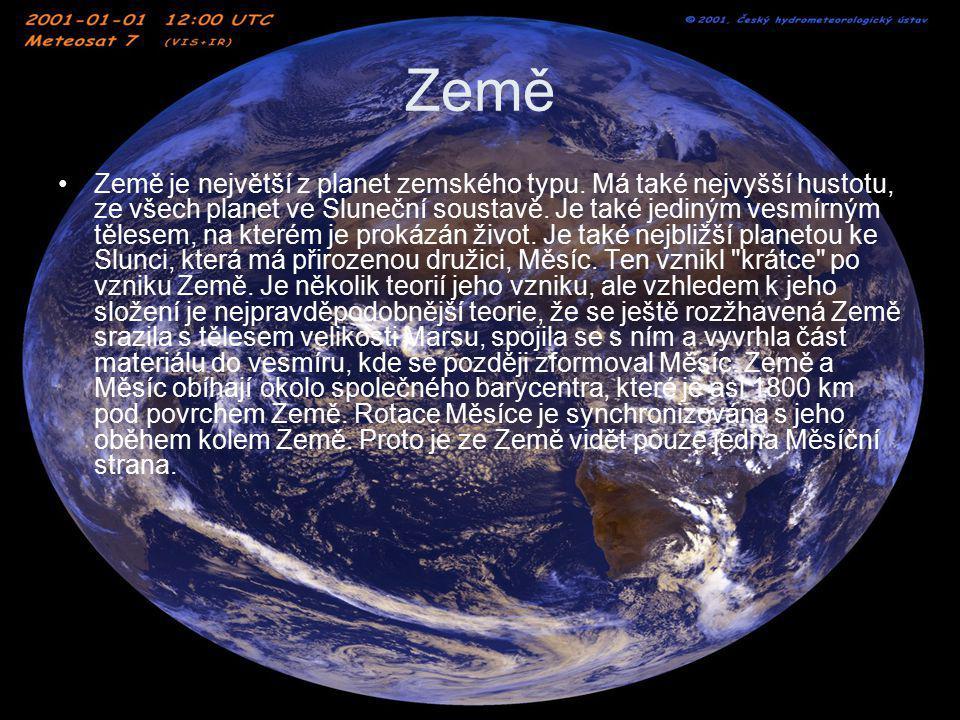 Země Země je největší z planet zemského typu. Má také nejvyšší hustotu, ze všech planet ve Sluneční soustavě. Je také jediným vesmírným tělesem, na kt