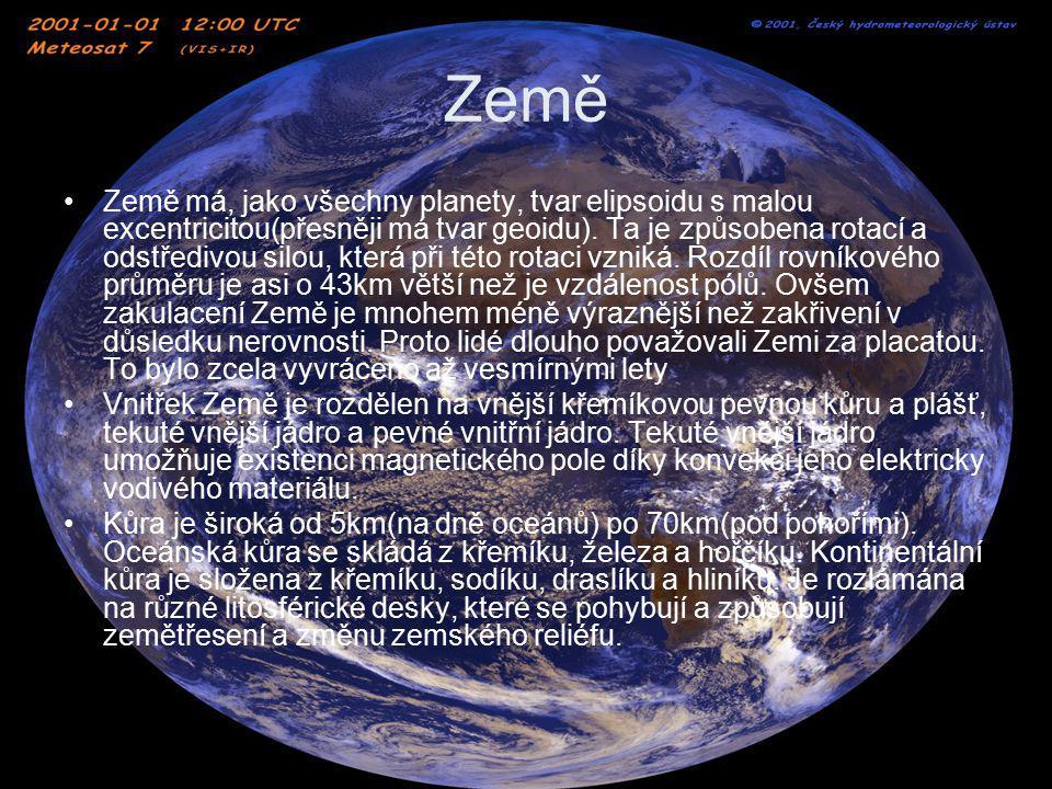 Země Země má, jako všechny planety, tvar elipsoidu s malou excentricitou(přesněji má tvar geoidu). Ta je způsobena rotací a odstředivou silou, která p