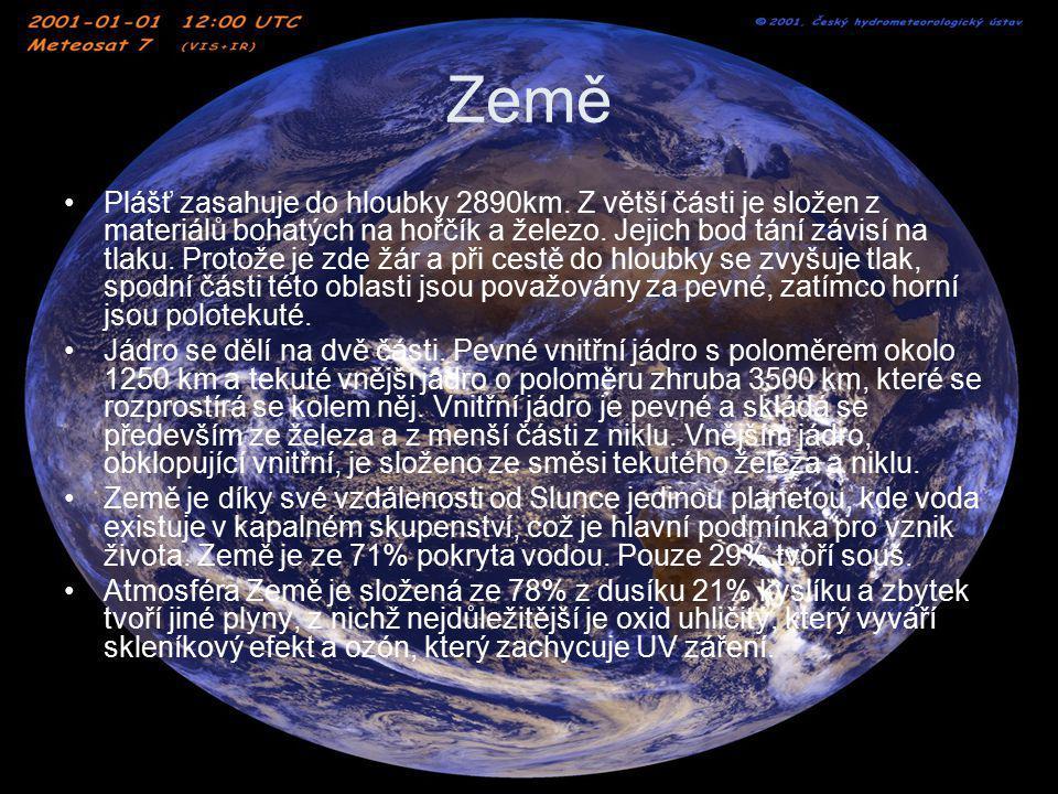 Země Plášť zasahuje do hloubky 2890km. Z větší části je složen z materiálů bohatých na hořčík a železo. Jejich bod tání závisí na tlaku. Protože je zd