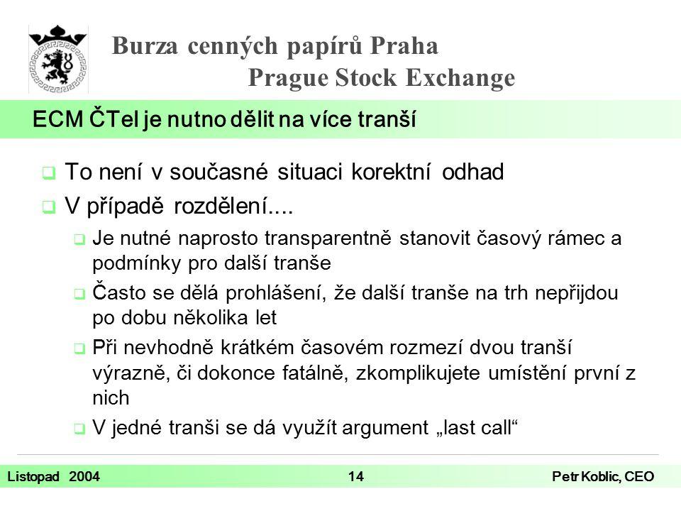 Burza cenných papírů Praha Prague Stock Exchange Listopad 200414Petr Koblic, CEO  To není v současné situaci korektní odhad  V případě rozdělení....