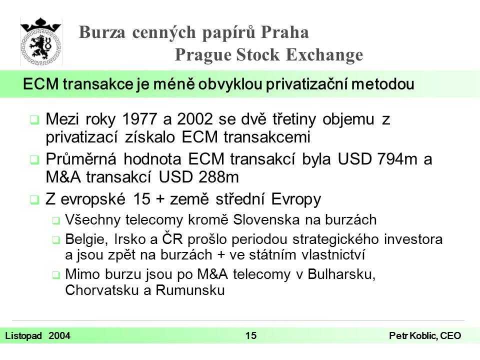 Burza cenných papírů Praha Prague Stock Exchange Listopad 200415Petr Koblic, CEO  Mezi roky 1977 a 2002 se dvě třetiny objemu z privatizací získalo ECM transakcemi  Průměrná hodnota ECM transakcí byla USD 794m a M&A transakcí USD 288m  Z evropské 15 + země střední Evropy  Všechny telecomy kromě Slovenska na burzách  Belgie, Irsko a ČR prošlo periodou strategického investora a jsou zpět na burzách + ve státním vlastnictví  Mimo burzu jsou po M&A telecomy v Bulharsku, Chorvatsku a Rumunsku ECM transakce je méně obvyklou privatizační metodou