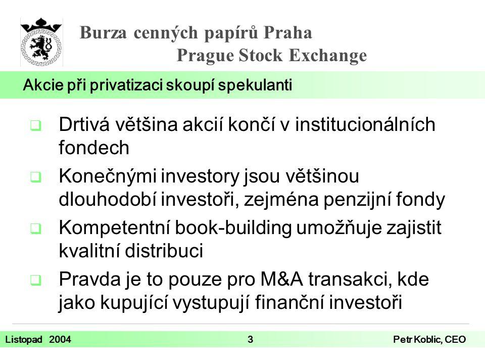 Burza cenných papírů Praha Prague Stock Exchange Listopad 20043Petr Koblic, CEO Akcie při privatizaci skoupí spekulanti  Drtivá většina akcií končí v institucionálních fondech  Konečnými investory jsou většinou dlouhodobí investoři, zejména penzijní fondy  Kompetentní book-building umožňuje zajistit kvalitní distribuci  Pravda je to pouze pro M&A transakci, kde jako kupující vystupují finanční investoři
