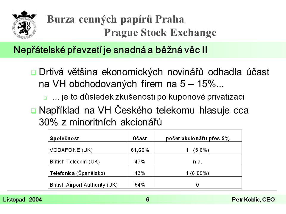 Burza cenných papírů Praha Prague Stock Exchange Listopad 20046Petr Koblic, CEO  Drtivá většina ekonomických novinářů odhadla účast na VH obchodovaných firem na 5 – 15%...