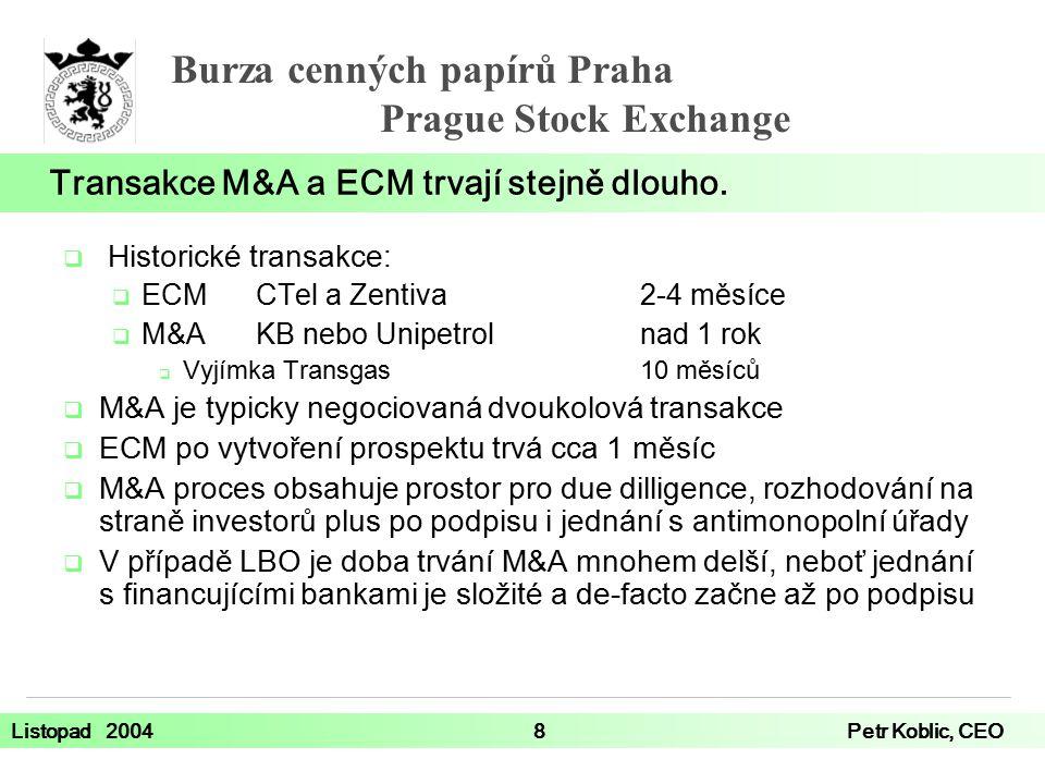 Burza cenných papírů Praha Prague Stock Exchange Listopad 20048Petr Koblic, CEO  Historické transakce:  ECMCTel a Zentiva2-4 měsíce  M&AKB nebo Unipetrolnad 1 rok  Vyjímka Transgas 10 měsíců  M&A je typicky negociovaná dvoukolová transakce  ECM po vytvoření prospektu trvá cca 1 měsíc  M&A proces obsahuje prostor pro due dilligence, rozhodování na straně investorů plus po podpisu i jednání s antimonopolní úřady  V případě LBO je doba trvání M&A mnohem delší, neboť jednání s financujícími bankami je složité a de-facto začne až po podpisu Transakce M&A a ECM trvají stejně dlouho.