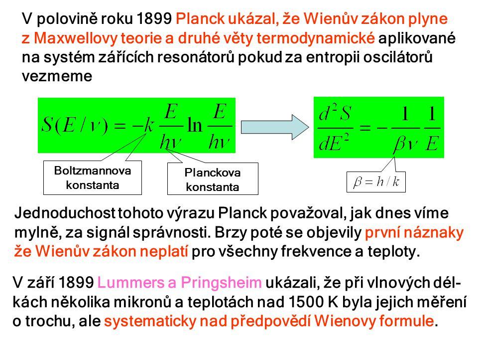 V polovině roku 1899 Planck ukázal, že Wienův zákon plyne z Maxwellovy teorie a druhé věty termodynamické aplikované na systém zářících resonátorů pok