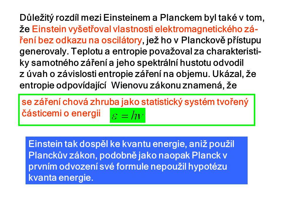 Důležitý rozdíl mezi Einsteinem a Planckem byl také v tom, že Einstein vyšetřoval vlastnosti elektromagnetického zá- ření bez odkazu na oscilátory, je