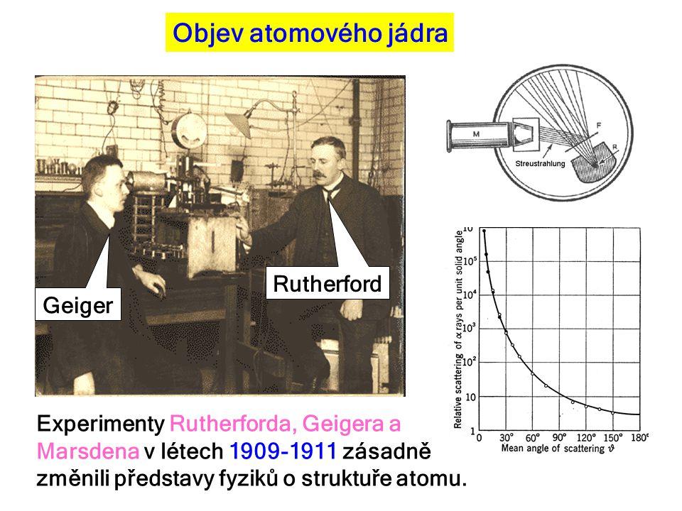 Objev atomového jádra Rutherford Geiger Experimenty Rutherforda, Geigera a Marsdena v létech 1909-1911 zásadně změnili představy fyziků o struktuře at