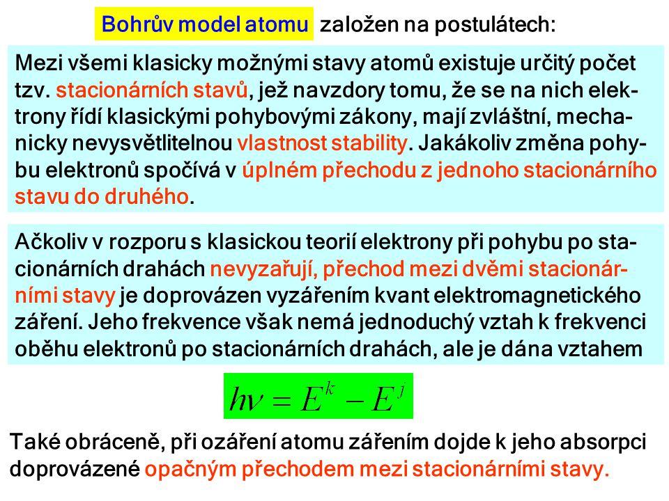 Mezi všemi klasicky možnými stavy atomů existuje určitý počet tzv. stacionárních stavů, jež navzdory tomu, že se na nich elek- trony řídí klasickými p