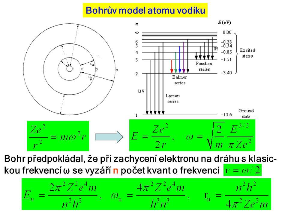 Bohrův model atomu vodíku Bohr předpokládal, že při zachycení elektronu na dráhu s klasic- kou frekvencí ω se vyzáří n počet kvant o frekvenci