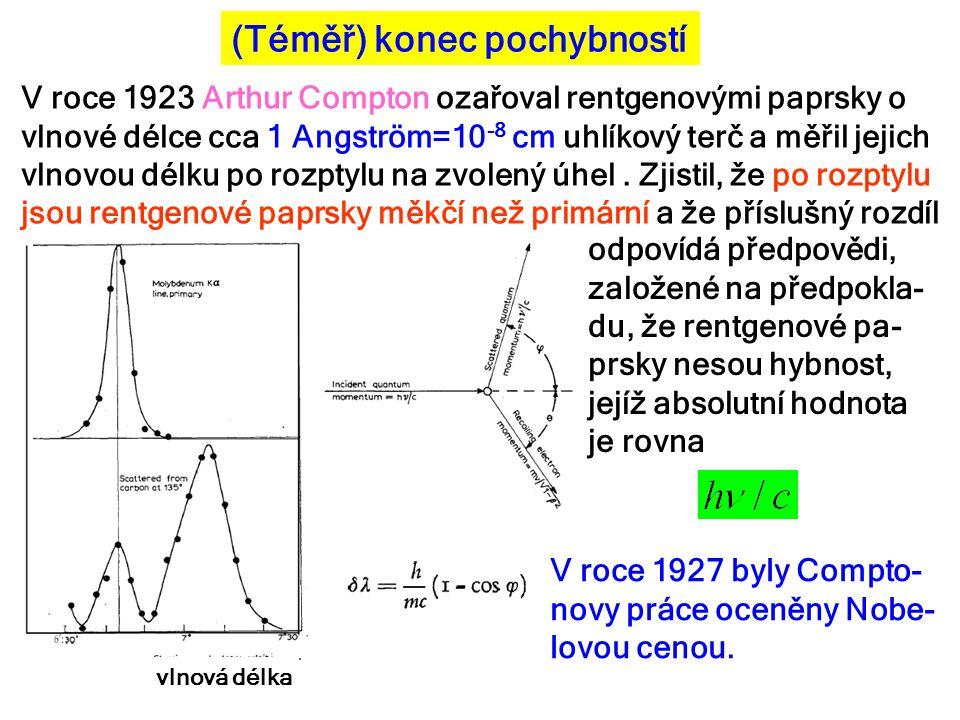 (Téměř) konec pochybností V roce 1923 Arthur Compton ozařoval rentgenovými paprsky o vlnové délce cca 1 Angström=10 -8 cm uhlíkový terč a měřil jejich