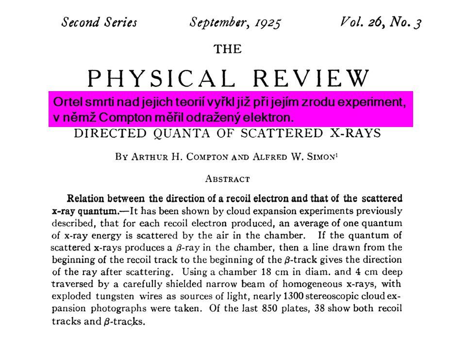 Ortel smrti nad jejich teorií vyřkl již při jejím zrodu experiment, v němž Compton měřil odražený elektron.