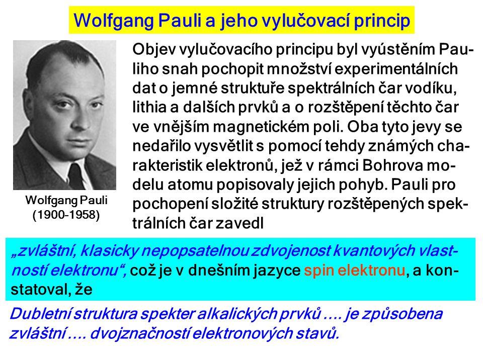 Wolfgang Pauli a jeho vylučovací princip Wolfgang Pauli (1900-1958) Objev vylučovacího principu byl vyústěním Pau- liho snah pochopit množství experim