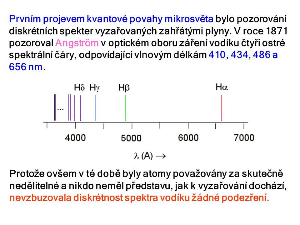 Prvním projevem kvantové povahy mikrosvěta bylo pozorování diskrétních spekter vyzařovaných zahřátými plyny. V roce 1871 pozoroval Angström v optickém