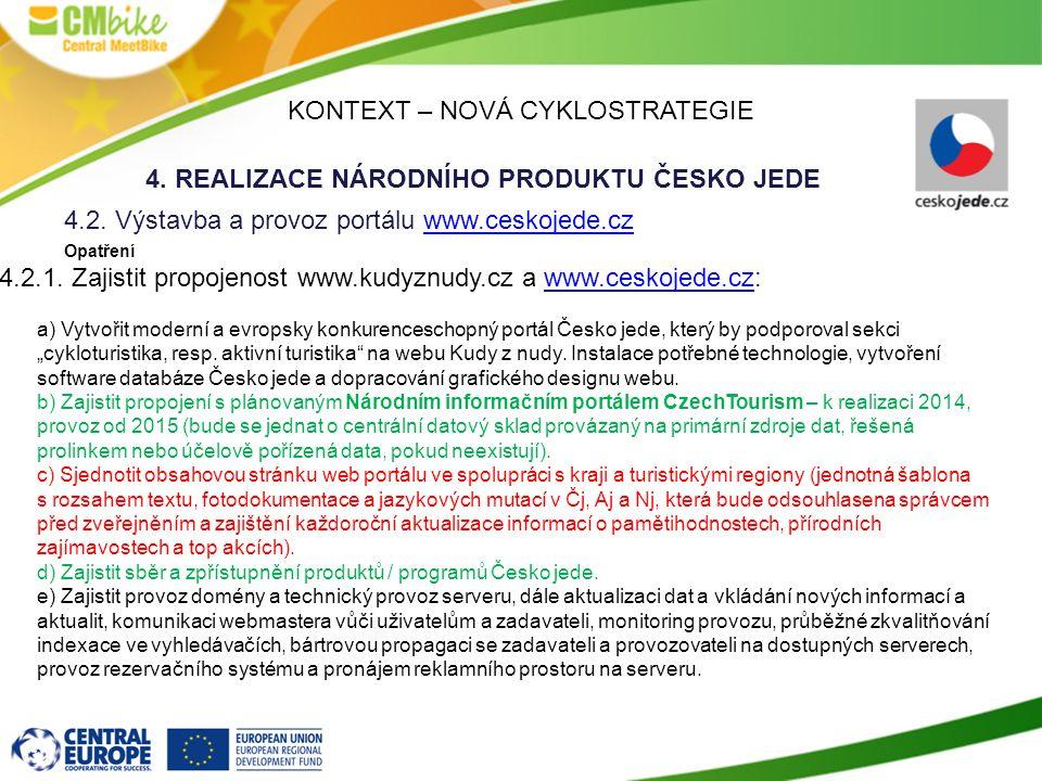 KONTEXT – NOVÁ CYKLOSTRATEGIE 4.REALIZACE NÁRODNÍHO PRODUKTU ČESKO JEDE 4.2.