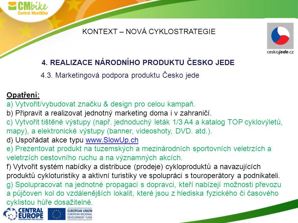 KONTEXT – NOVÁ CYKLOSTRATEGIE 4.REALIZACE NÁRODNÍHO PRODUKTU ČESKO JEDE 4.3.