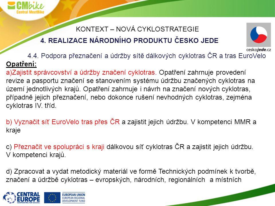 KONTEXT – NOVÁ CYKLOSTRATEGIE 4.REALIZACE NÁRODNÍHO PRODUKTU ČESKO JEDE 4.4.