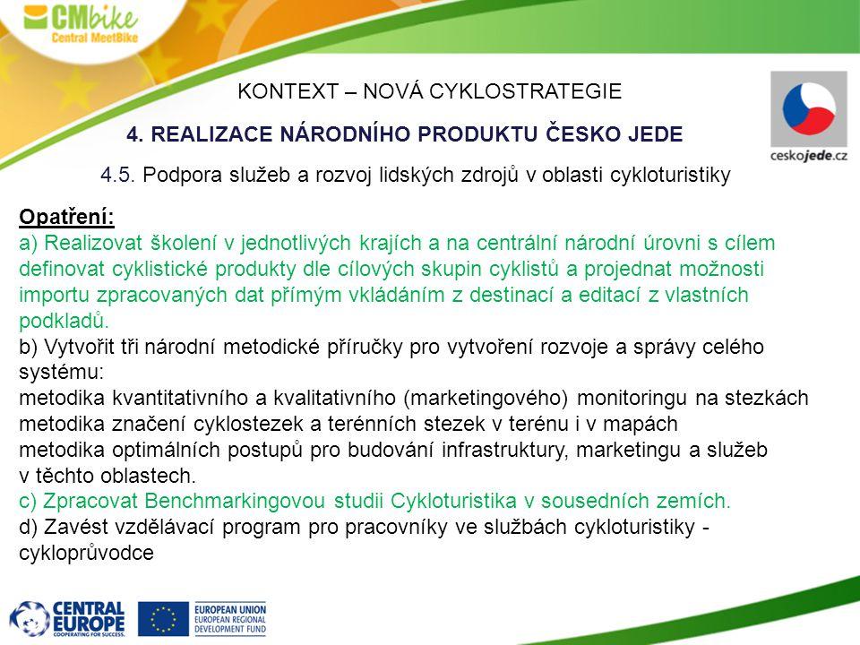 KONTEXT – NOVÁ CYKLOSTRATEGIE 4.REALIZACE NÁRODNÍHO PRODUKTU ČESKO JEDE 4.5.