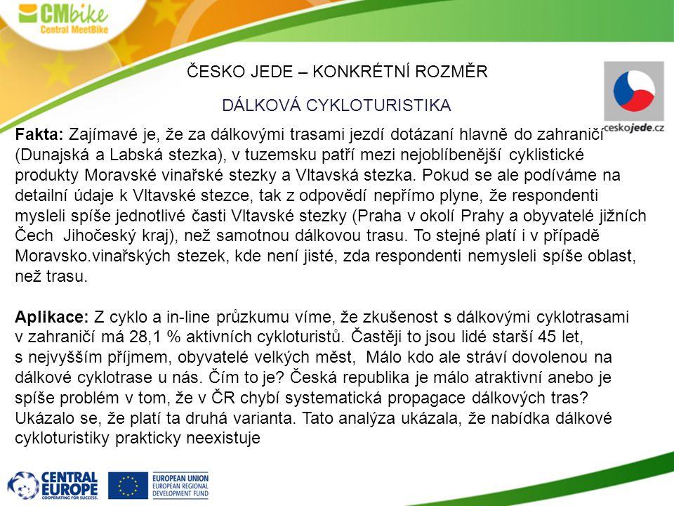 ČESKO JEDE – KONKRÉTNÍ ROZMĚR DÁLKOVÁ CYKLOTURISTIKA Fakta: Zajímavé je, že za dálkovými trasami jezdí dotázaní hlavně do zahraničí (Dunajská a Labská stezka), v tuzemsku patří mezi nejoblíbenější cyklistické produkty Moravské vinařské stezky a Vltavská stezka.