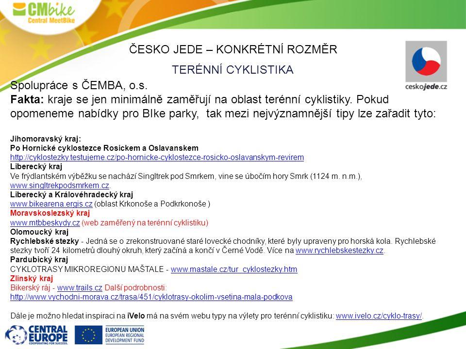 ČESKO JEDE – KONKRÉTNÍ ROZMĚR TERÉNNÍ CYKLISTIKA Spolupráce s ČEMBA, o.s.