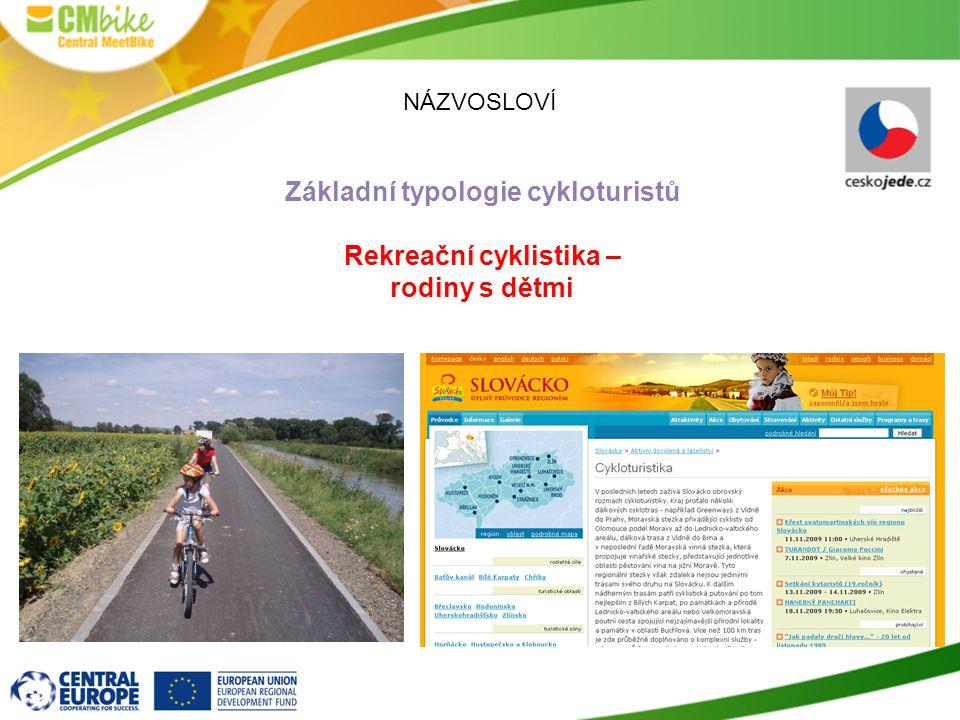 NÁZVOSLOVÍ Základní typologie cykloturistů Rekreační cyklistika – rodiny s dětmi