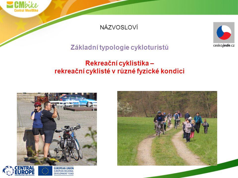 NÁZVOSLOVÍ Základní typologie cykloturistů Rekreační cyklistika – rekreační cyklisté v různé fyzické kondici