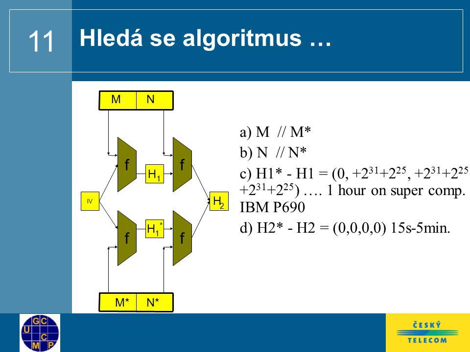 11 Hledá se algoritmus … f H 2 f M H 1 IV ff M*M* H 1 * N N* a) M // M* b) N // N* c) H1* - H1 = (0, +2 31 +2 25, +2 31 +2 25, +2 31 +2 25 ) ….